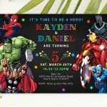 marvel superhero invitation for twins