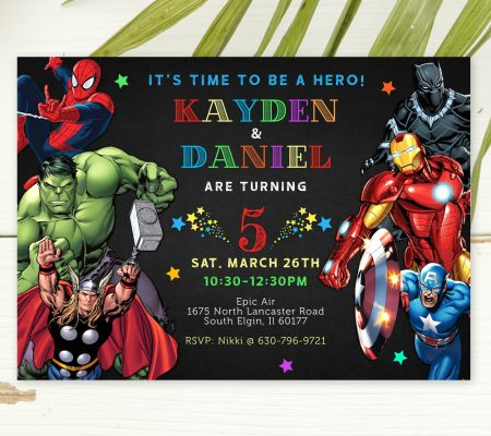 marvel superhero invitation for twins
