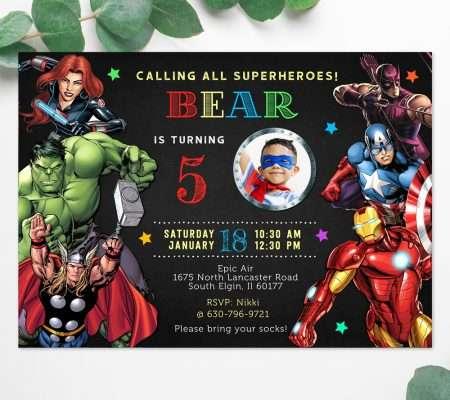 Avengers superhero birthday invitation editable