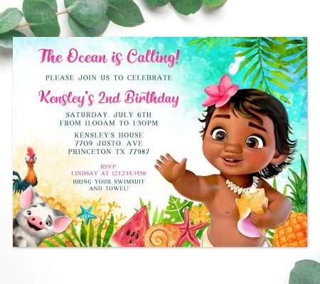 Baby Moana Birthday Invitation
