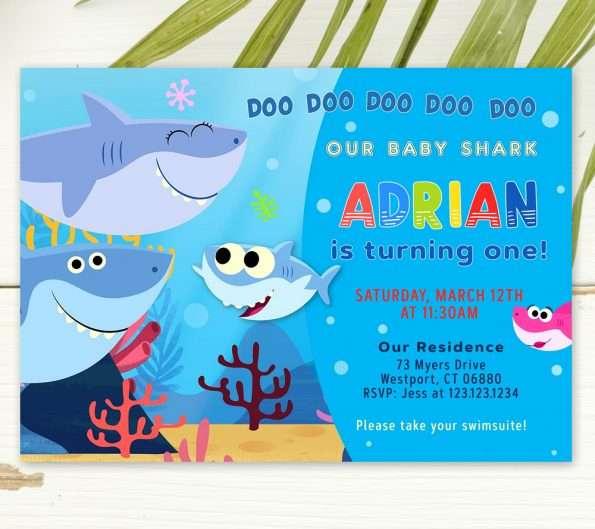 editable baby shark invitation
