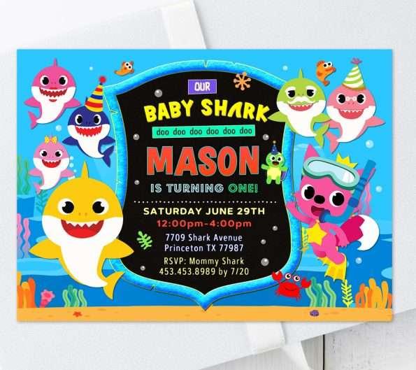 baby shark invitation template