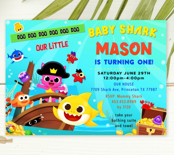 editable baby shark birthday invitation