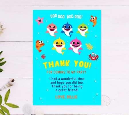 baby shark thank you card editable template