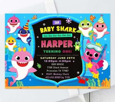 baby shark invitation for girl
