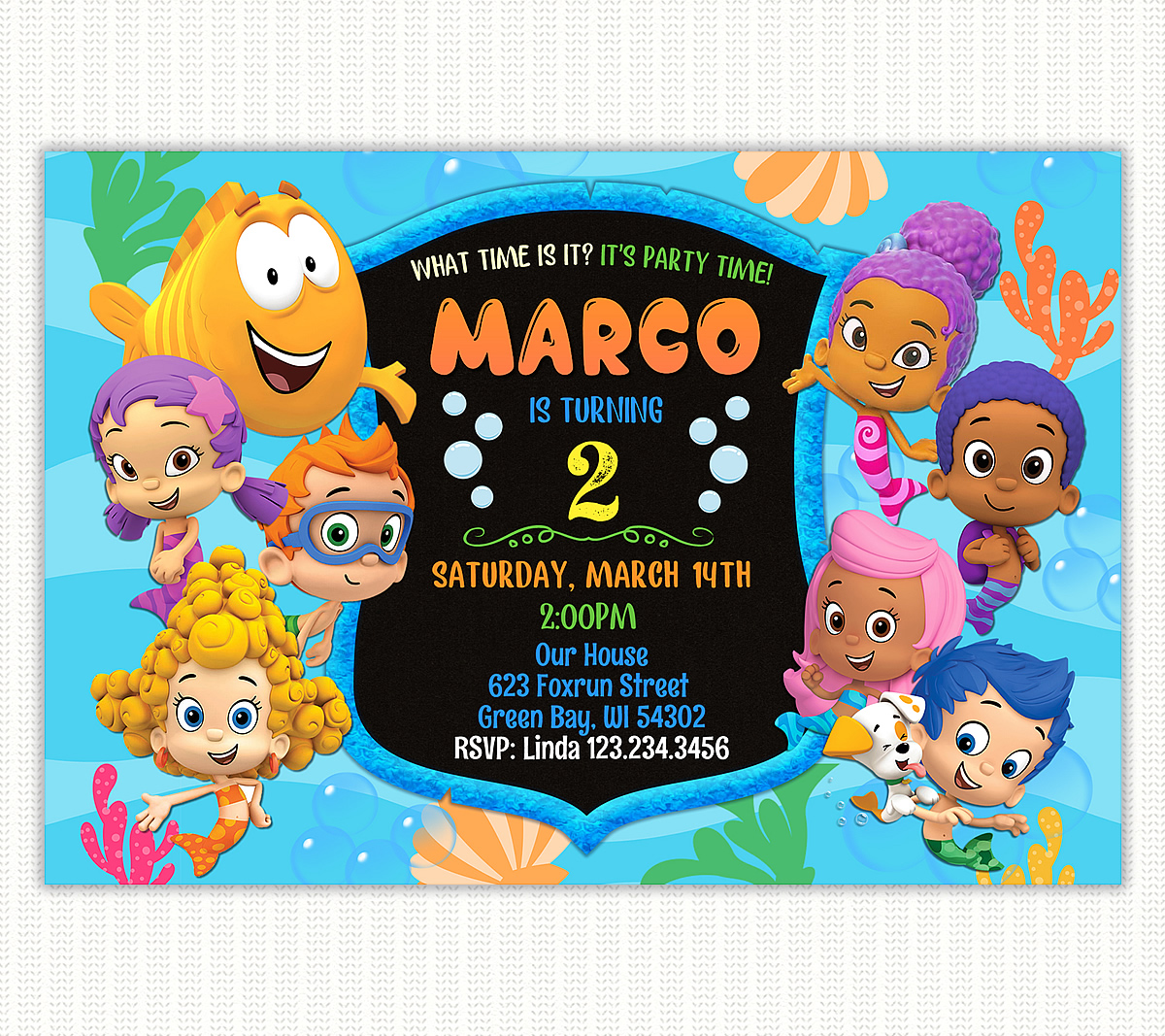 Boy birthday Bubble Guppies invitation - Perfect Party Prints