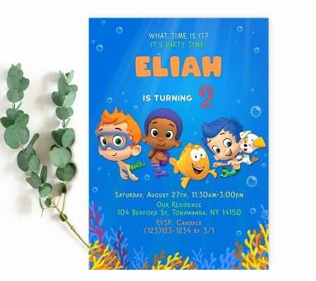 bubble guppies invitation boy template