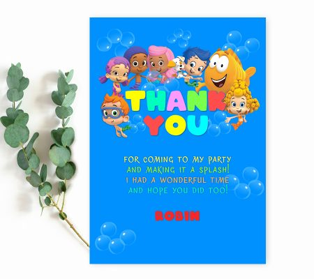 Bubble Guppies thank you card editable
