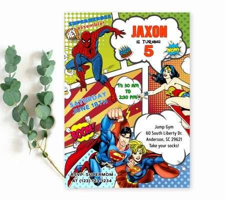 superhero invitation instant download