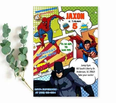 comic book superheroes birthday invitation template