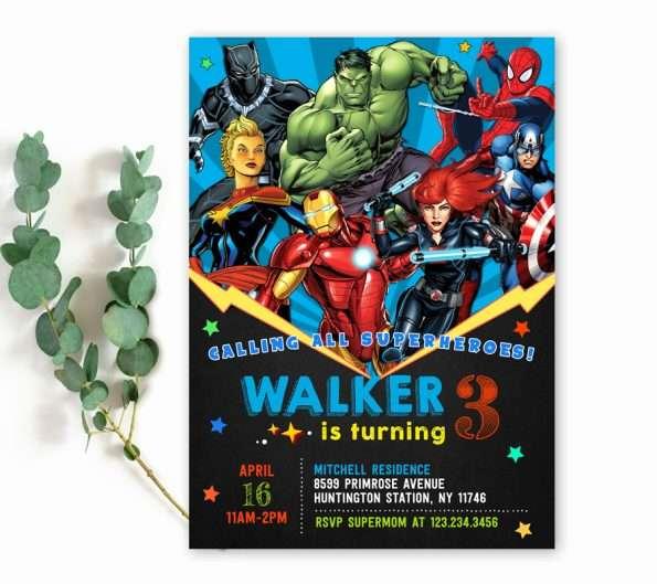 avengers birthday party invitation template