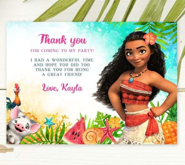 editable Moana thank you card