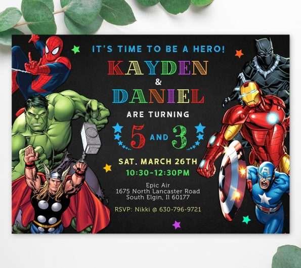 Avengers siblings birthday invitation