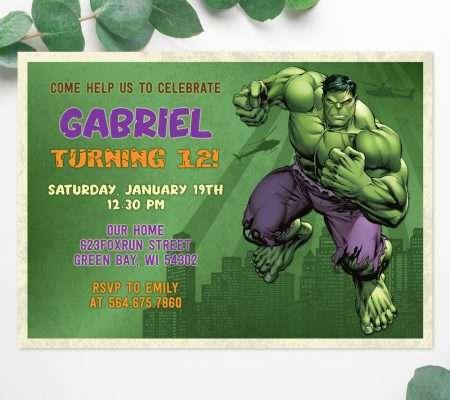 Hulk birthday invitation edit online