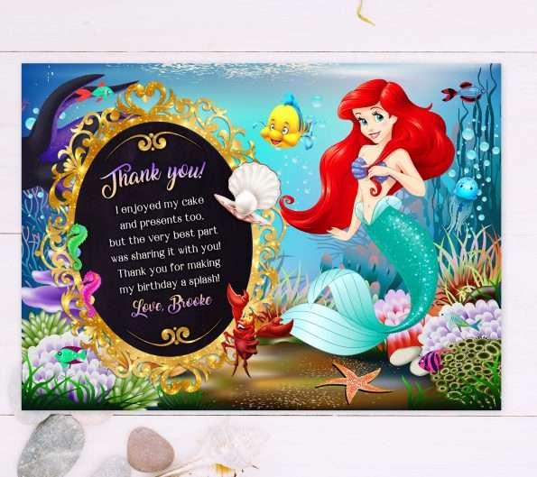 little mermaid thank you card editable template