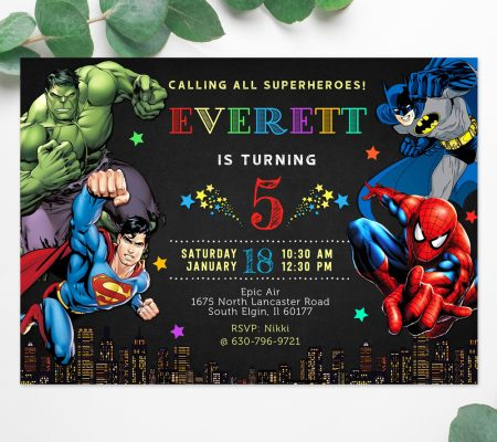 marvel superheroes invitation instant download template