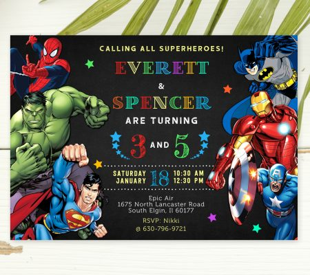 Superheroes Theme Siblings Invitation