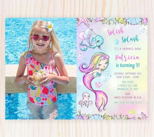 Mermaid Birthday Invitation With Photo