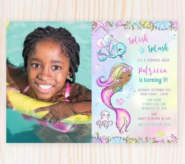 Black Mermaid Birthday Invitation With Photo