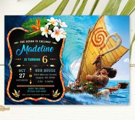 moana and maui birthday invitation template