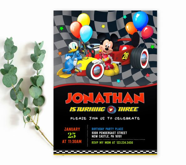 mickey mouse and roadster racers editable invitation