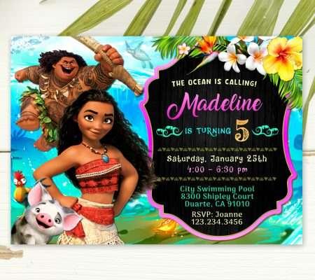 Moana party invitation template