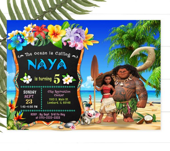 editable Moana invitation template