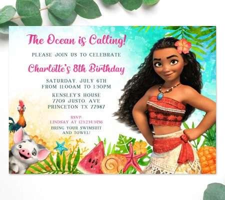 Moana birthday invitation template editable