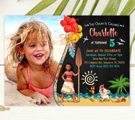 Moana birthday invitation with photo