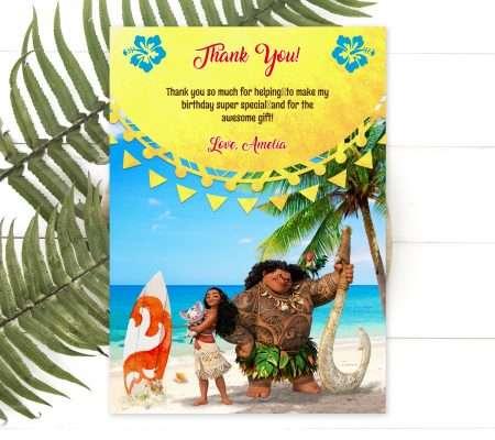 Moana thank you card editable template