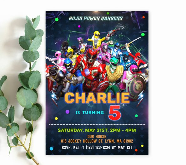 power rangers birthday invitation template