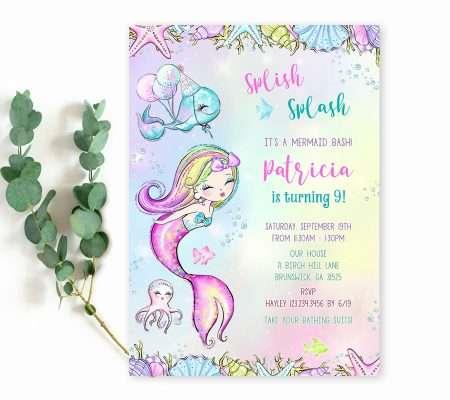 Splish Splash Mermaid Bash Invitation Template