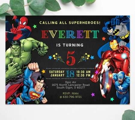 superhero invitation editable template