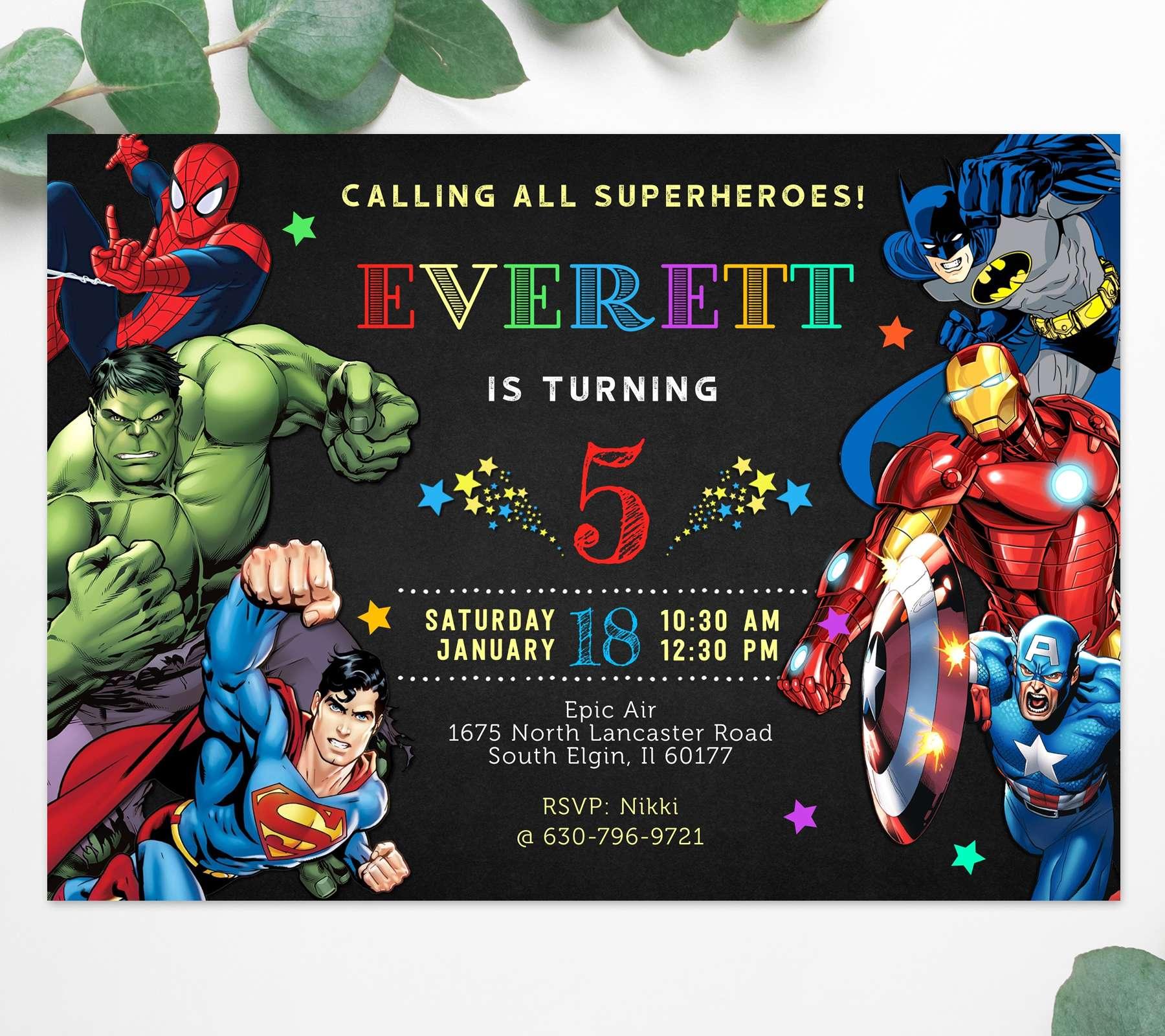 Superhero Birthday Invitation Editable Template Edit Before You Buy