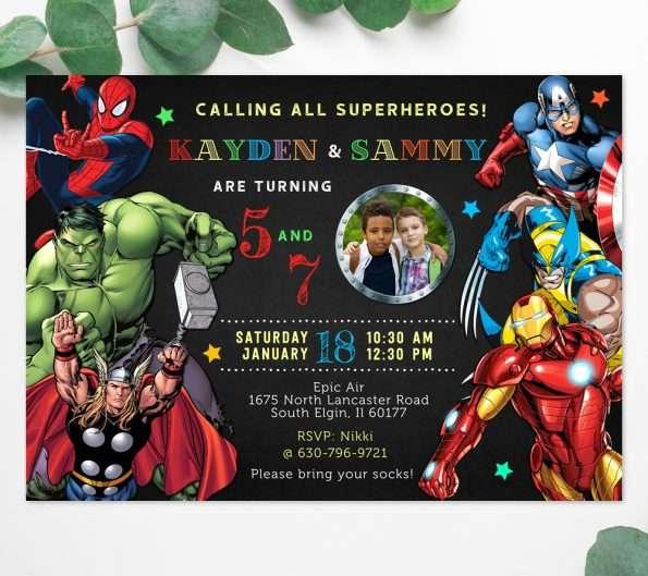 superhero combined party invitation template