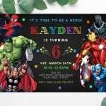 avengers superheroes invitation editable template