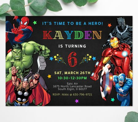 avengers superheroes invitation editable template