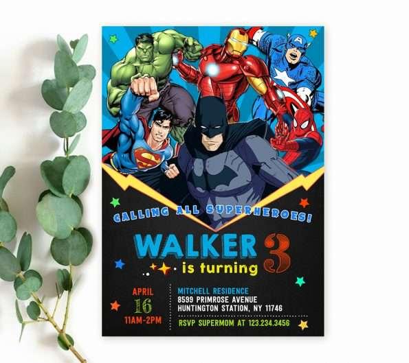 editable superheroes birthday invitation