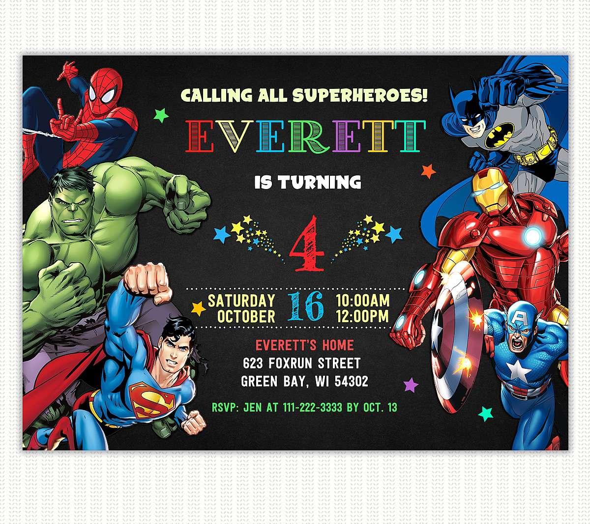 Birthday invitation card superhero theme