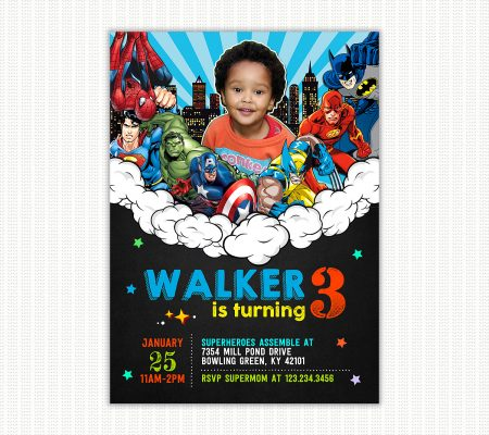 Superheroes Invitation With Picture