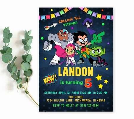 Teen Titans birthday invitation template