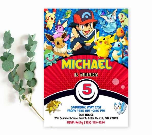 Pokemon birthday invitation template ditable