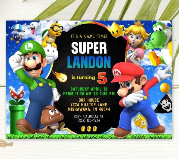 Super Mario birthday invitation template