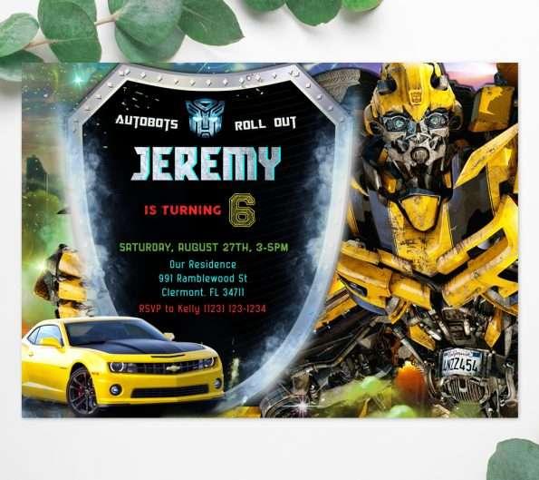 Transformers Bumblebee Birthday Invitation