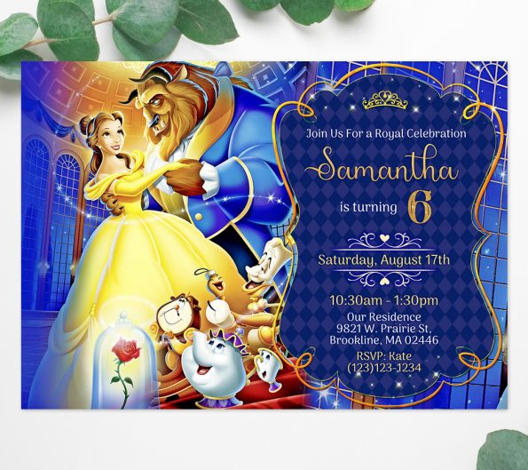 Beauty and the Beast invitation instant download