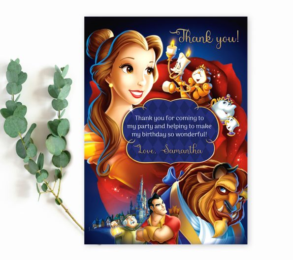 Beauty and the Beast thank you card template