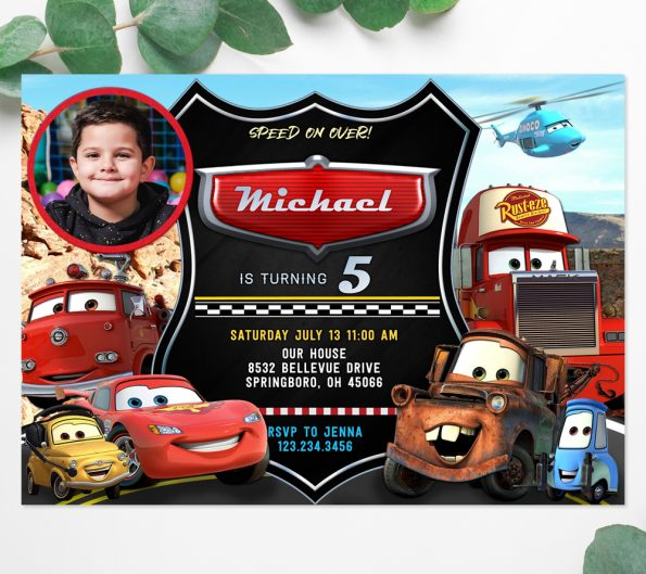 cars Lightning McQueen invitation template with photo