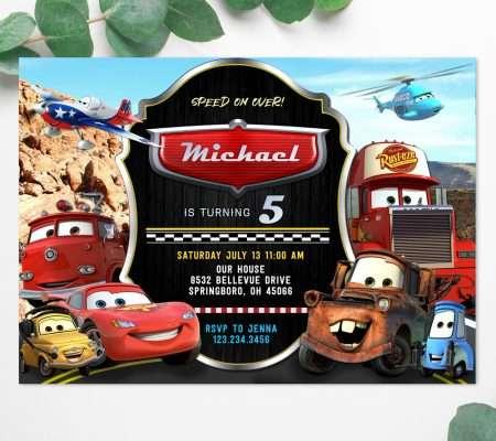 cars movie invitation Lightning McQueen