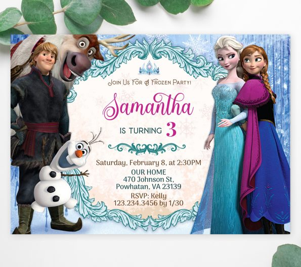 Frozen Elsa birthday invitation template