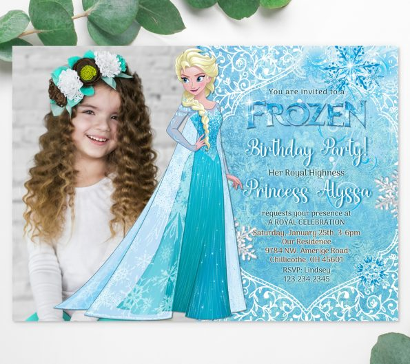 Frozen invitation template with photo edit online